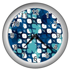 Blue Texture                       			wall Clock (silver) by LalyLauraFLM