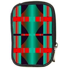 Vertical stripes and other shapes                        			Compact Camera Leather Case by LalyLauraFLM