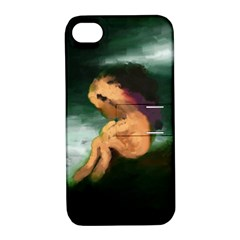 Hand Painted Lonliness Illustration Apple Iphone 4/4s Hardshell Case With Stand by TastefulDesigns
