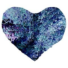 Splashes! Large 19  Premium Flano Heart Shape Cushions by SugaPlumsEmporium