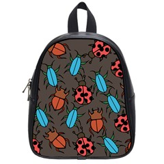Beetles And Ladybug Pattern Bug Lover  School Bags (Small)  by BubbSnugg