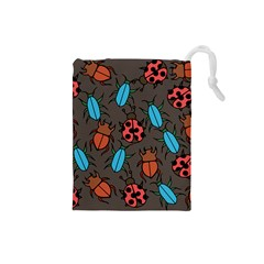 Beetles And Ladybug Pattern Bug Lover  Drawstring Pouches (small)