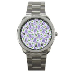 Liliac Flowers And Leaves Pattern Sport Metal Watch