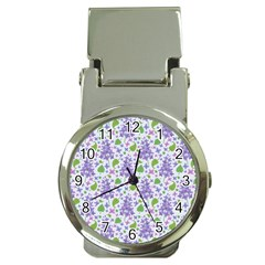 Liliac Flowers And Leaves Pattern Money Clip Watches