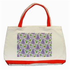 Liliac Flowers And Leaves Pattern Classic Tote Bag (red)