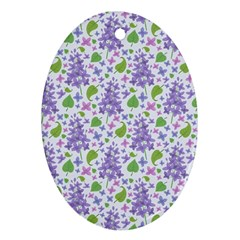 Liliac Flowers And Leaves Pattern Oval Ornament (two Sides) by TastefulDesigns