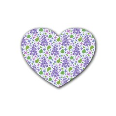Liliac Flowers And Leaves Pattern Heart Coaster (4 Pack)
