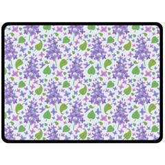 Liliac Flowers And Leaves Pattern Fleece Blanket (large)  by TastefulDesigns