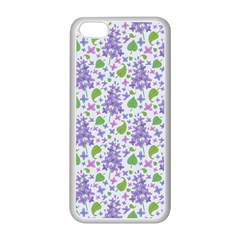 Liliac Flowers And Leaves Pattern Apple Iphone 5c Seamless Case (white) by TastefulDesigns
