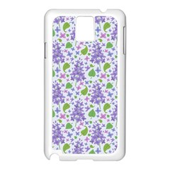 Liliac Flowers And Leaves Pattern Samsung Galaxy Note 3 N9005 Case (white) by TastefulDesigns