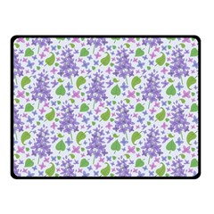 Liliac Flowers And Leaves Pattern Double Sided Fleece Blanket (small)  by TastefulDesigns