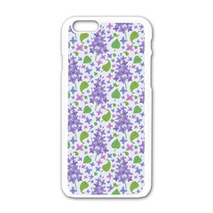 Liliac Flowers And Leaves Pattern Apple Iphone 6/6s White Enamel Case by TastefulDesigns