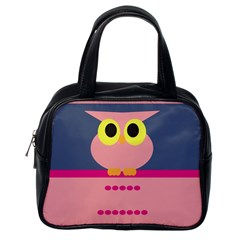 Cute Whimsical Pink Owl Classic Handbags (one Side) by CircusValleyMall