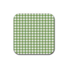 Avocado Green Gingham Classic Traditional Pattern Rubber Coaster (square)  by CircusValleyMall