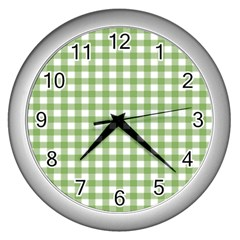 Avocado Green Gingham Classic Traditional Pattern Wall Clocks (silver)  by CircusValleyMall