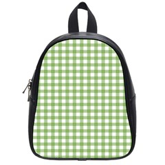 Avocado Green Gingham Classic Traditional Pattern School Bags (small)  by CircusValleyMall