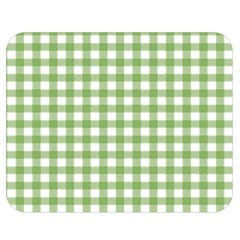 Avocado Green Gingham Classic Traditional Pattern Double Sided Flano Blanket (medium)  by CircusValleyMall