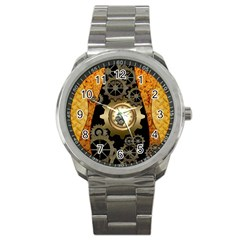 Steampunk Golden Design With Clocks And Gears Sport Metal Watch by FantasyWorld7