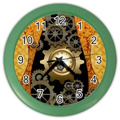 Steampunk Golden Design With Clocks And Gears Color Wall Clocks by FantasyWorld7