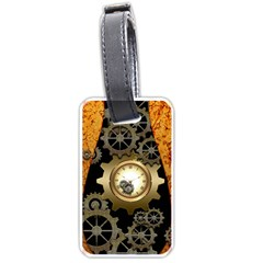 Steampunk Golden Design With Clocks And Gears Luggage Tags (one Side)  by FantasyWorld7
