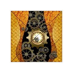 Steampunk Golden Design With Clocks And Gears Acrylic Tangram Puzzle (4  x 4 ) by FantasyWorld7