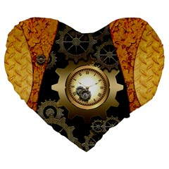 Steampunk Golden Design With Clocks And Gears Large 19  Premium Heart Shape Cushions by FantasyWorld7