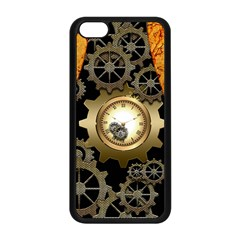Steampunk Golden Design With Clocks And Gears Apple Iphone 5c Seamless Case (black) by FantasyWorld7