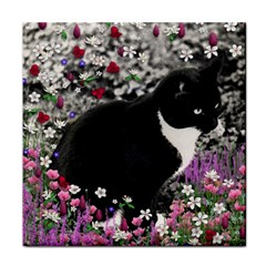 Freckles In Flowers Ii, Black White Tux Cat Tile Coasters by DianeClancy