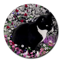 Freckles In Flowers Ii, Black White Tux Cat Round Mousepads by DianeClancy
