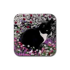 Freckles In Flowers Ii, Black White Tux Cat Rubber Square Coaster (4 Pack)  by DianeClancy