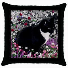 Freckles In Flowers Ii, Black White Tux Cat Throw Pillow Case (black) by DianeClancy