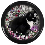 Freckles In Flowers Ii, Black White Tux Cat Wall Clocks (Black) Front