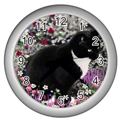 Freckles In Flowers Ii, Black White Tux Cat Wall Clocks (silver)  by DianeClancy