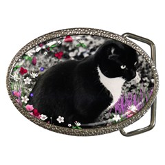 Freckles In Flowers Ii, Black White Tux Cat Belt Buckles by DianeClancy