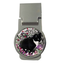 Freckles In Flowers Ii, Black White Tux Cat Money Clips (round)  by DianeClancy