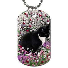 Freckles In Flowers Ii, Black White Tux Cat Dog Tag (one Side) by DianeClancy