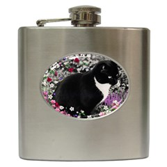 Freckles In Flowers Ii, Black White Tux Cat Hip Flask (6 Oz) by DianeClancy