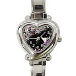 Freckles In Flowers Ii, Black White Tux Cat Heart Italian Charm Watch