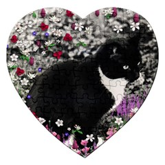 Freckles In Flowers Ii, Black White Tux Cat Jigsaw Puzzle (heart) by DianeClancy