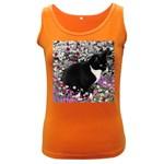 Freckles In Flowers Ii, Black White Tux Cat Women s Dark Tank Top