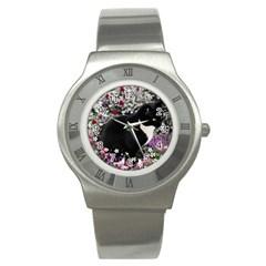 Freckles In Flowers Ii, Black White Tux Cat Stainless Steel Watch by DianeClancy