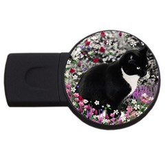 Freckles In Flowers Ii, Black White Tux Cat Usb Flash Drive Round (4 Gb)  by DianeClancy