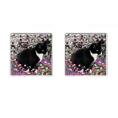 Freckles In Flowers Ii, Black White Tux Cat Cufflinks (square) by DianeClancy