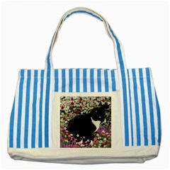 Freckles In Flowers Ii, Black White Tux Cat Striped Blue Tote Bag by DianeClancy