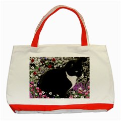 Freckles In Flowers Ii, Black White Tux Cat Classic Tote Bag (red) by DianeClancy