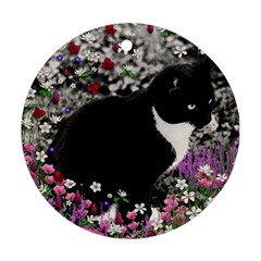 Freckles In Flowers Ii, Black White Tux Cat Round Ornament (two Sides)  by DianeClancy