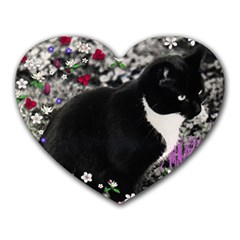Freckles In Flowers Ii, Black White Tux Cat Heart Mousepads by DianeClancy