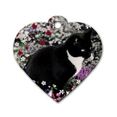 Freckles In Flowers Ii, Black White Tux Cat Dog Tag Heart (two Sides) by DianeClancy