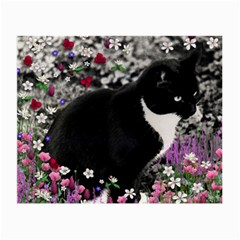 Freckles In Flowers Ii, Black White Tux Cat Small Glasses Cloth (2 Side) by DianeClancy
