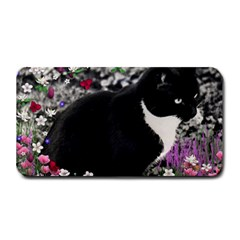 Freckles In Flowers Ii, Black White Tux Cat Medium Bar Mats by DianeClancy